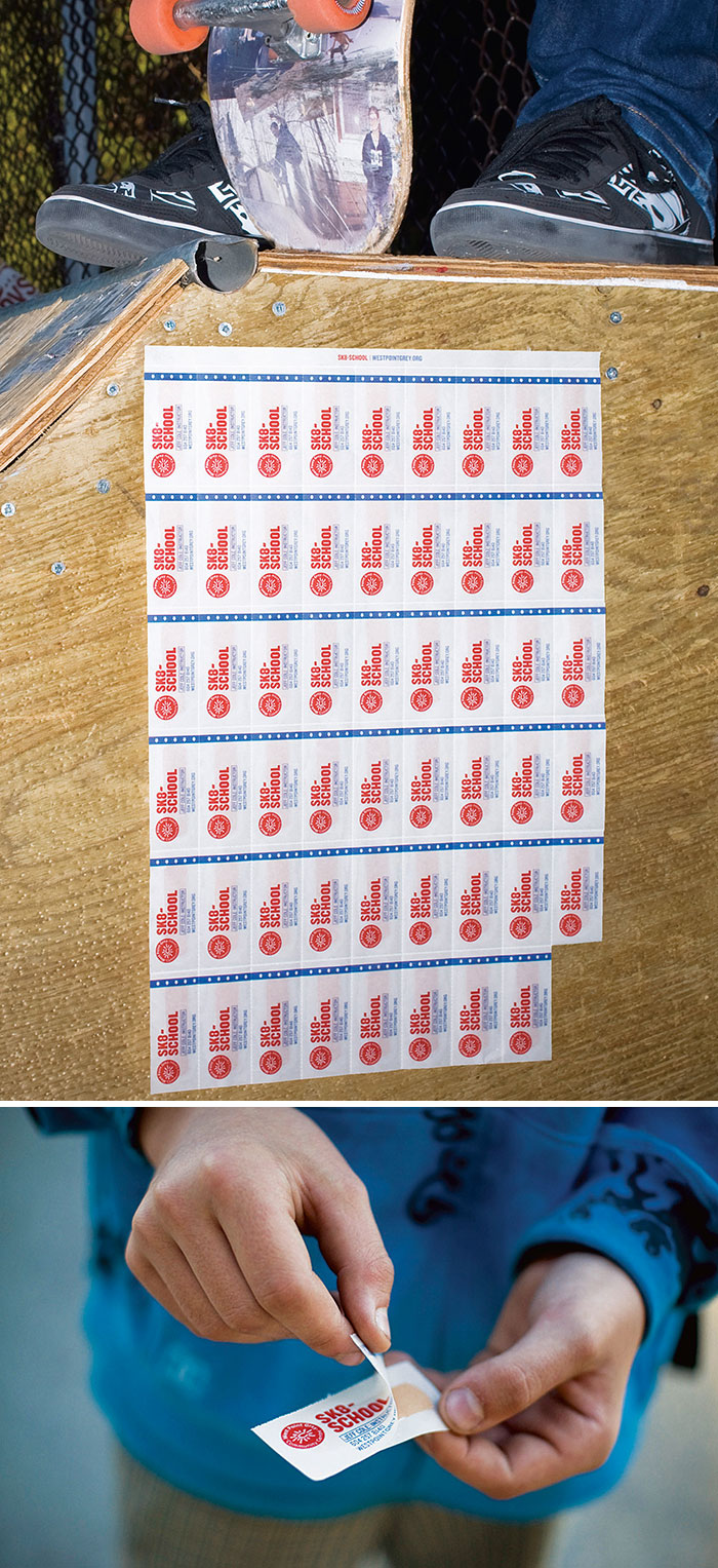 Skate School's Business Cards Made As The Band-Aids