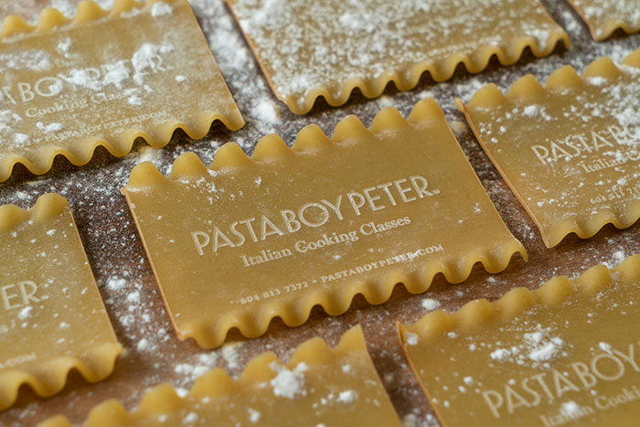 Pasta Boy Peter Teaches Italian Cooking Classes, So His Business Cards Are Made With His Information Laser-Etched Onto Edible Lasagna Noodles