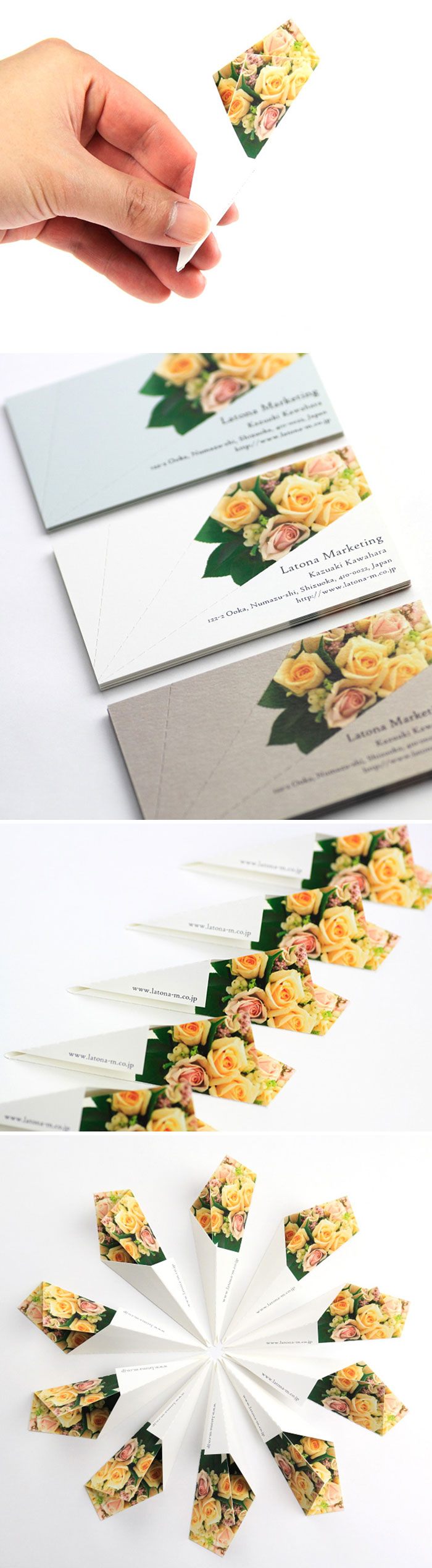 """This Is A Business Card Designed To """"Put A Smile On One's Face."""" When Folded, It Turns Into A Flower Bouquet"""
