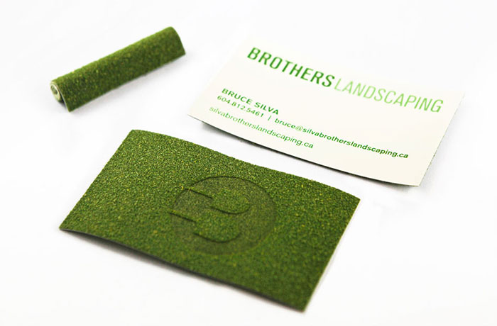 Business Card Design For Brothers Landscaping. Model Turf Paper And Logo Branded Into The Grass Side Of The Card Give It A Trimmed Lawn Look