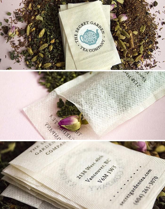 Multi-Functional Teabag Business Cards Produced For The Secret Garden Tea Company