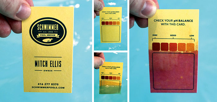 Schwimmer Pool Service Business Card Printed On Special pH Paper. Prospective Clients Can Dip The Card Into Their Swimming Pool To Test pH Balance Level