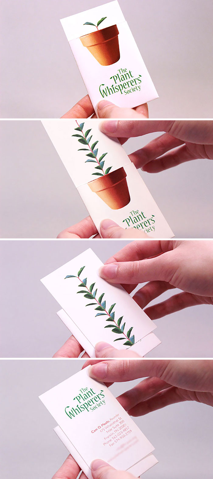 Simple And Unique Business Card Design For The Plant Whisperers Society