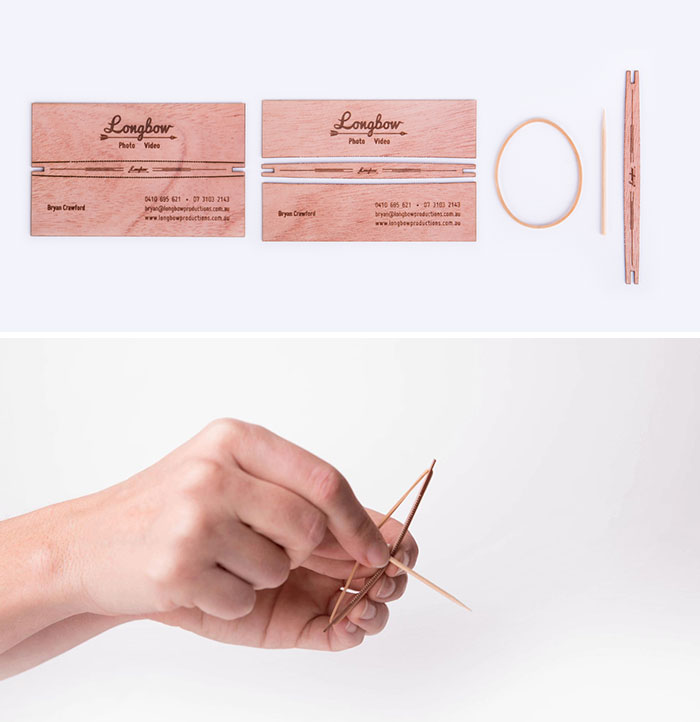 Longbow - Interactive Laser Cut, Perf And Etched Business Cards