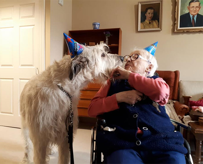 Gilligan Sharing A Birthday Kiss With 110 Year Old Mariette
