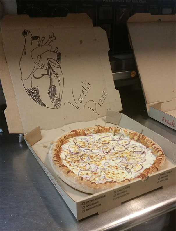 """Please Draw A Cute Heart On The Pizza Box"""