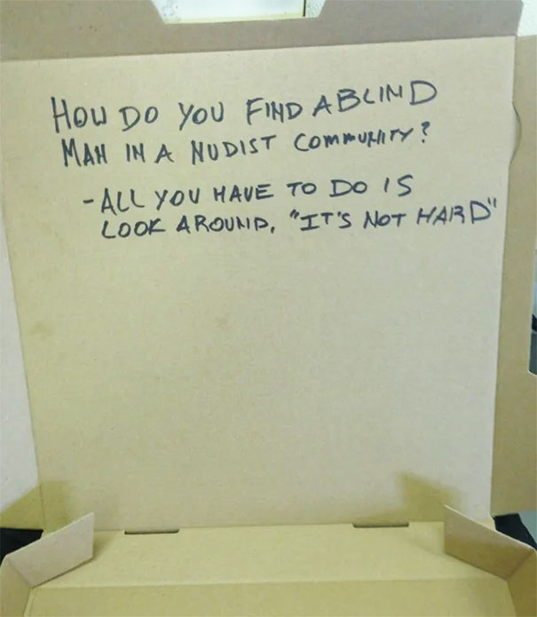 I Work In A Pizza Shop, A Customer Asked For A Dirty Joke On The Box