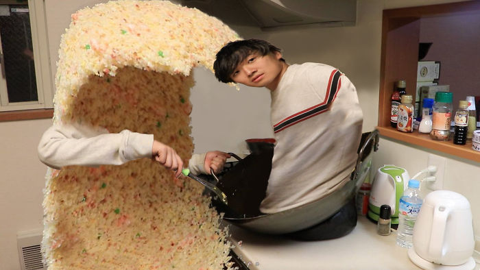After This Guy Posted A Photo Of A Giant Rice Wave, People Turned It Into A Hilarious Photoshop Battle