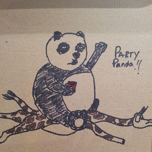 "Before I Left Work, Customer Made An Order Asking For A ""Panda Riding A Giraffe While Holding A Red Solo Cup On The Box"""
