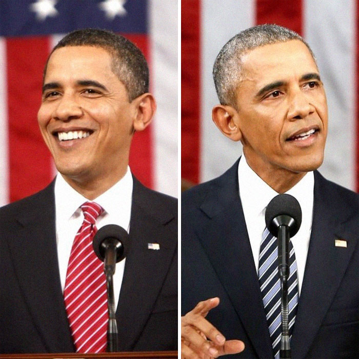 Obama's First State Of The Union Compared To His Last, Without The Skin Smoothing On His First Picture Or A Mid-Blink Picture On His Last To Make Him Look More Tired Older Than He Really Is