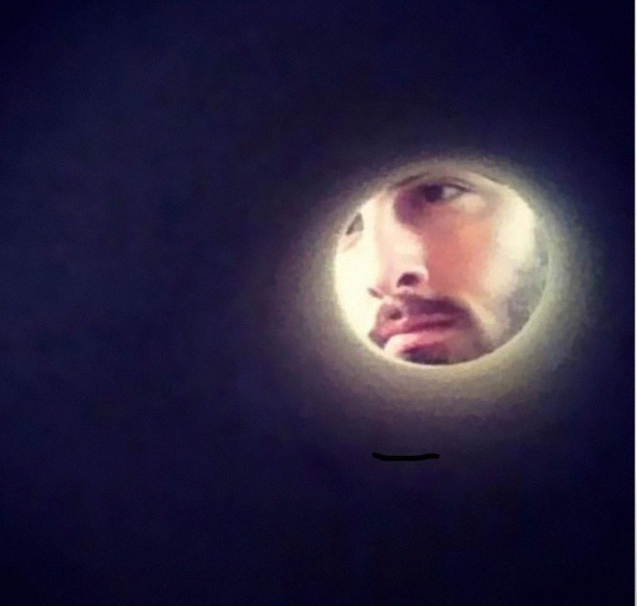 I Took A Selfie Through A Roll Of Toilet Paper And I Look Like The Moon. Creativity And Laughter! Try It!
