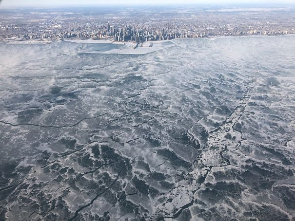 My Brother Was On One Of The Few Flights Into Chicago This Morning. He Took This Photo Of Frozen Lake Michigan From The Plane