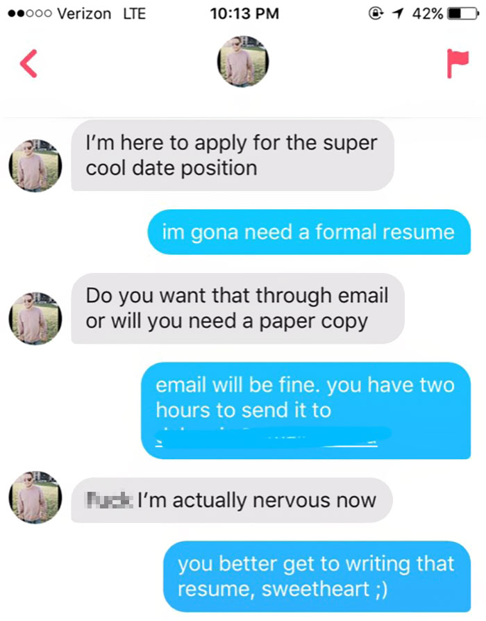 Girl Asks Guy For A Formal Resume To Go To A Wedding With Her As A
