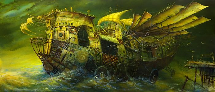 I Am Painting Fantasy Ships With Oil