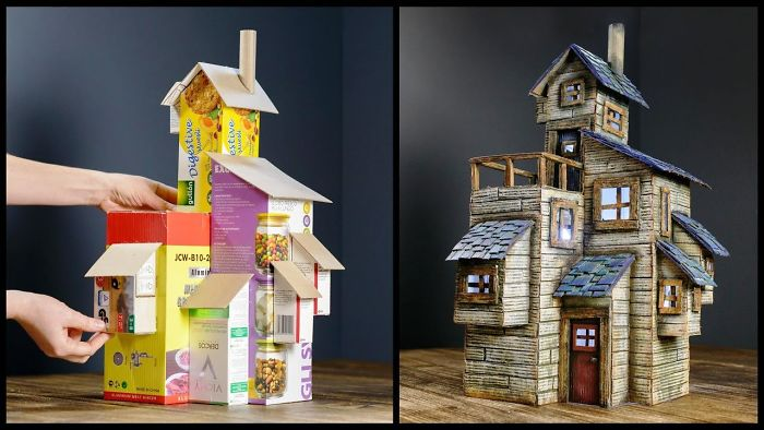 I Upcycled Some Cardboard Boxes Into An Old Farmhouse