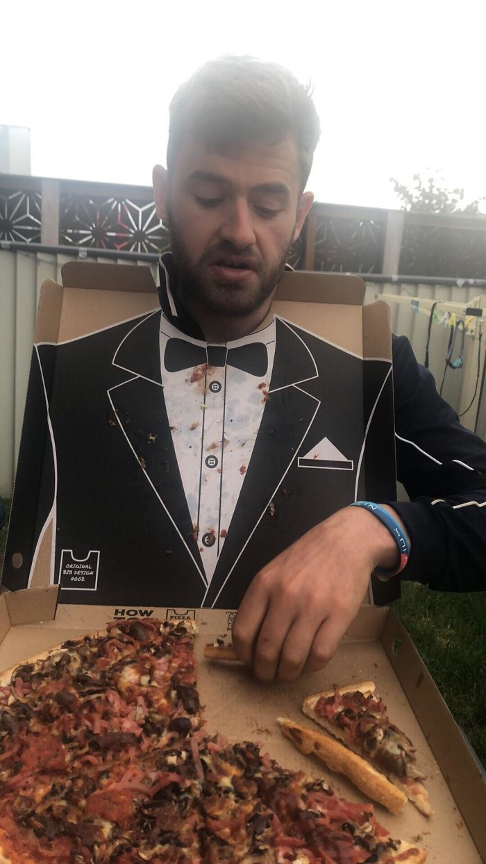 The Inside Of The Pizza Box Was A Tuxedo