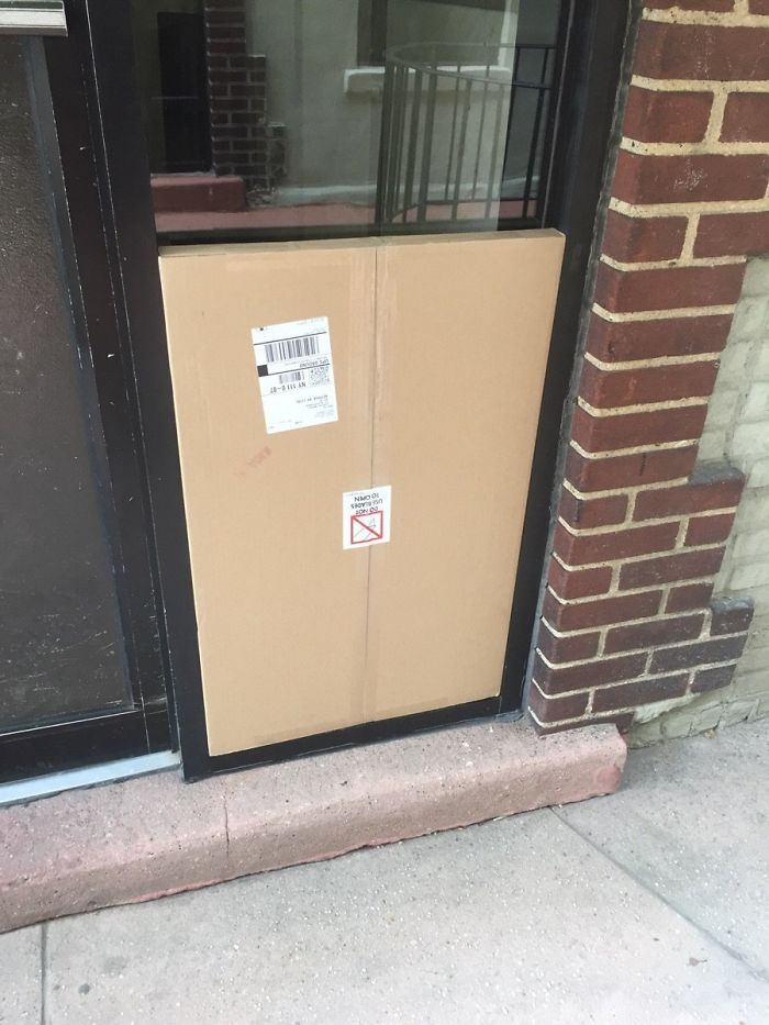 This Delivery Dude Must Have Felt So Good After Leaving This Package At My Apartment Building