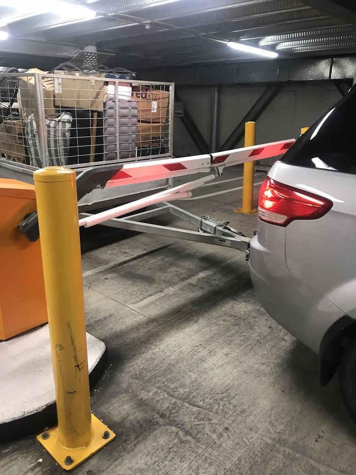 Car Park Barrier Closed Before The Trailer Got Through