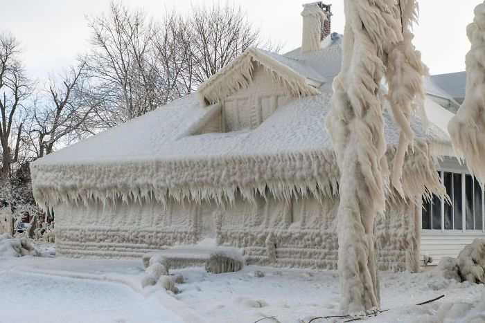 My Neighbor's House Encased In Ice After The Recent Blizzard In Ohio (On Shore Of Lake Erie)
