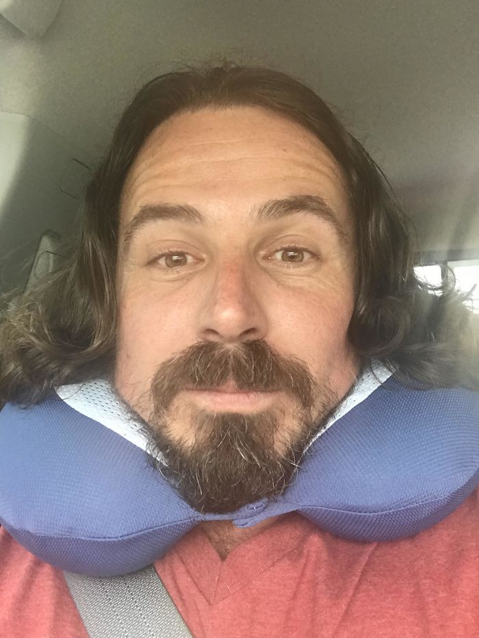 When Your Travel Pillow Makes You Look Like Shakespeare