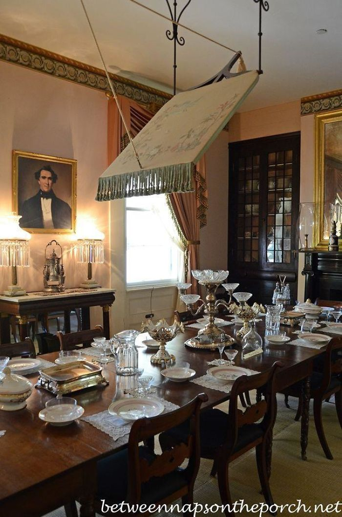 Researching Plantation Houses In The 1700's. What Is The Thing Hanging From The Ceiling In This Dining Room?