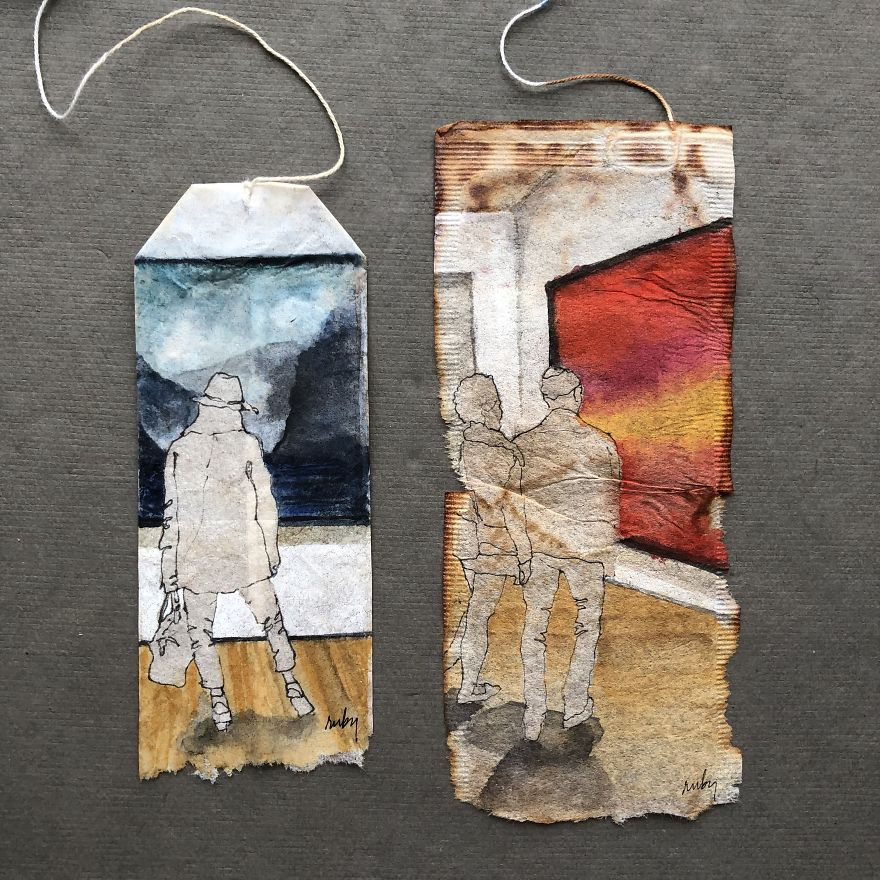 Museum Goers: Miniature Paintings On Used Tea Bags