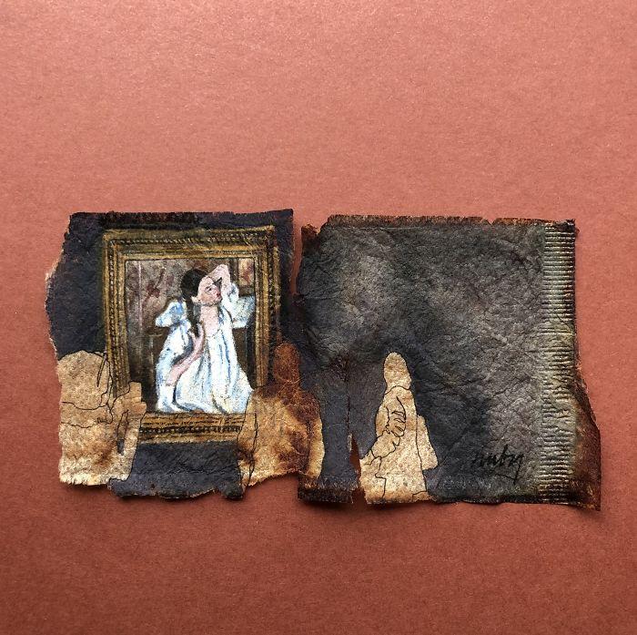Museum Goers: Miniature Paintings On Used Tea Bags