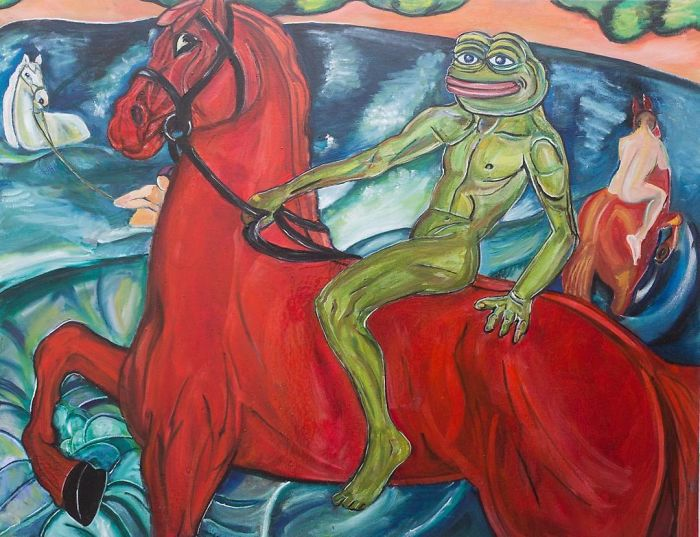 Pepe The Frog Bathing Of The Red Horse