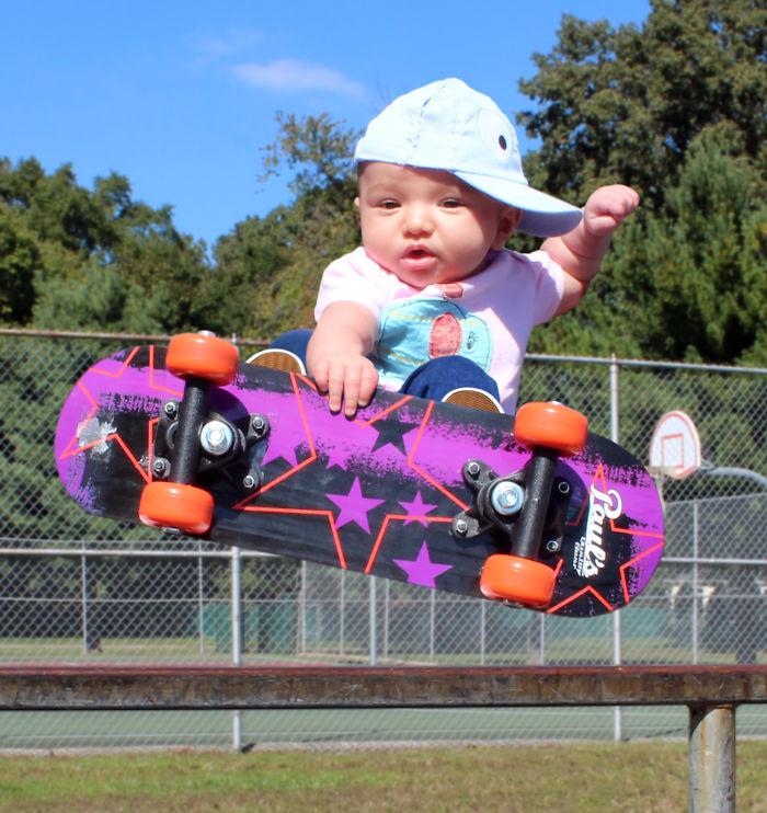 Ella Grabs Some Big Air At The Local Skate Park