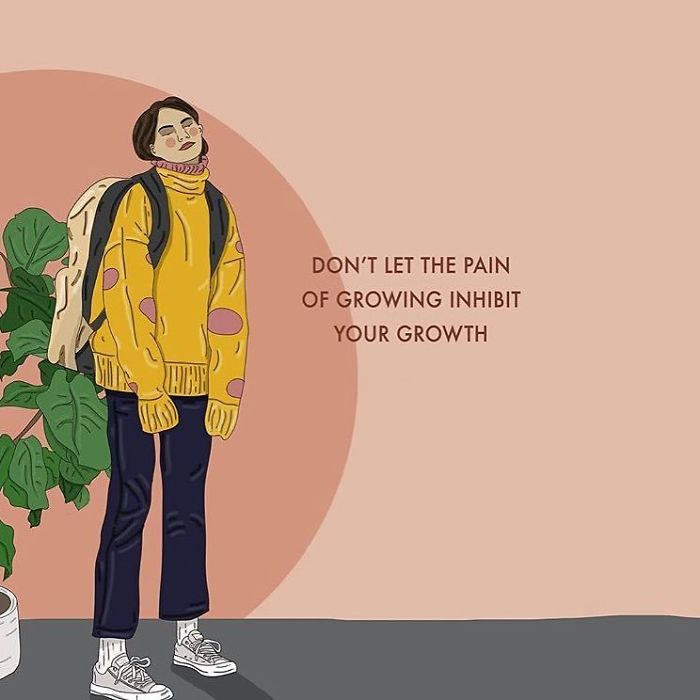 There Is Pain In Growth And Growth In Pain, The Two Often Go Hand In Hand. See If You Can Try Realise The Wisdom And Depth Gained From Times Of Trouble 💓. . . #recipesforselflove #support #love #positivity #bodypositive #growth #allbodiesaregoodbodies #selflove #selfcare #loveyourself  #smashthepatriarchy  #youareperfect #fuckthepatriarchy #effyourbeautystandards #feminism #instagood #instagood #instalove #feminsta #feminist #zine #illustration #digital #drawing #adobe #design #graphic #art #lifestyle #yourself