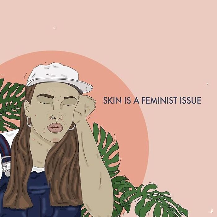 There Is So Much Pressure On Women To Have Clear Skin. Everyone's Body Is Different Just Like Some Bodies Are Fat And Some Are Thin, Some People Are Prone To Oily Skin Or Acne. This Topic Is Seldom Spoken About Within Body Positive Discourse And People With 'Bad Skin' Are Heavily Underrepresented. Similarly To Fat Shaming, People Make Judgments About Those Who Have Acne, For Example - Assuming They're Dirty Or Eat Badly. People Are Sometimes Classist Too, Expecting Those With Acne To Seek Out Often Expensive Treatments That Many Don't Have Access To. Don't Hate People With Pimples! You Can Be Beautiful With Acne! Acne Doesn't = 'Bad Skin'! . . .#selflove #selfcare #skin #loveyourself #lovetheskinyourein #bodypositive #smashthepatriarchy #women #effyourbeautystandards #love #fuckthepatriarchy #acne #feminism #feminista #feminist #zine #issue #illustration #digital #drawing #adobe #graphic #art #positive