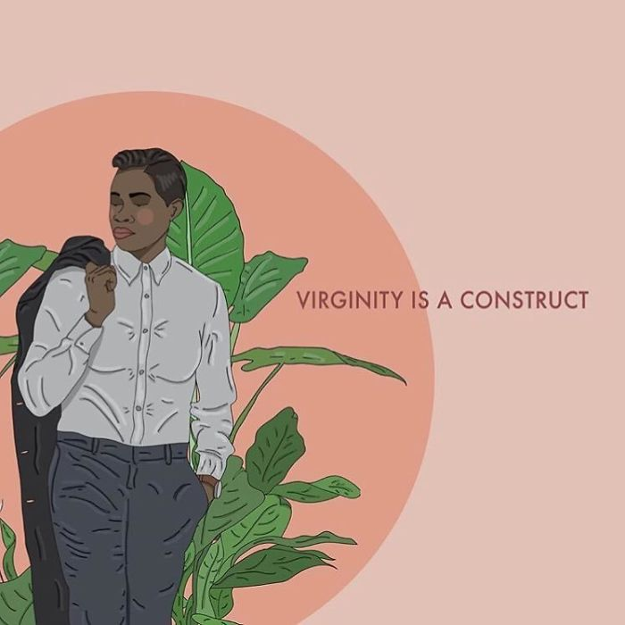 The Idea Of 'Virginity' Is Rooted In Heteronormativity And Religious Tradition That Pretty Much Sees Women As Objects And Child Bearers. There Are Many Ways To Have Sex That Don't Include Penis In Vagina. This Misconception Excludes A Myriad Of Other Forms Of Sexual Acts, Is Heteronormative And Also Can Minimize The Experiences Of Sexual Assault Survivors By Questioning Their Victimisation If There Was No 'Actual Penetration'. As For The Hymen Being A Representation Of Virginity, This Is A Load Of Horseshit Biologically Speaking, Also Not All Girls Have Vaginas/Hymens 🤷🏻♀. . . . . . #recipesforselflove #sex #sexpositive #virgin #love #life #bodypositive #truth #virginityisasocialconstruct #selflove #selfcare #loveyourself  #smashthepatriarchy #youareperfect #lifestyle #fuckthepatriarchy #effyourbeautystandards #feminism #instagood #lifestyle #feminsta #feminist #zine #illustration #drawing #design #graphic #art #lgbtq #yourself #instalove