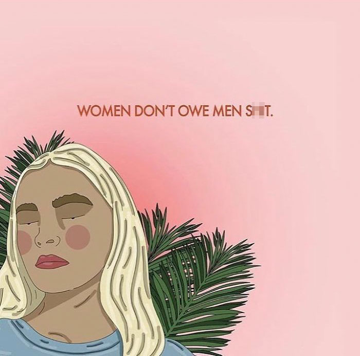 Not A Smile, Not An Engaging Conversation, Nada. Men Are Not Entitled To Women's And Trans-Feminine Bodies And Attention. You Don't Owe Them Anything. . .#recipesforselflove #yourbodyyourchoice #prochoice #life #lifestyle #instagood #selflove #selfcare #loveyourself #smashthepatriarchy #youareperfect #fuckthepatriarchy #effyourbeautystandards #feminism #femme #strong #instalove #feminsta #feminist #zine #illustration #digital #drawing #adobe #design #graphic #art #love #yourself