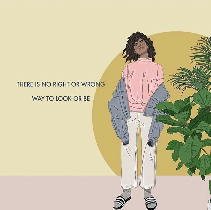 So Often We're Made To Feel Like We're Somehow Wrong For Being Or Looking The Way We Do. Try To Disrupt Those Thoughts When They Come To You And Remind Yourself That There Is No Wrong Way To Look Or Be If It's You. . . . . . #recipesforselflove #support #love #positivity #bodypositive #instagood #beyourself #true #selflove #selfcare #loveyourself  #smashthepatriarchy #youareperfect #fuckthepatriarchy #effyourbeautystandards #feminism #femme #truelove #feminsta #feminist #zine #illustration #digital #drawing #adobe #design #graphic #art #instalove #yourself