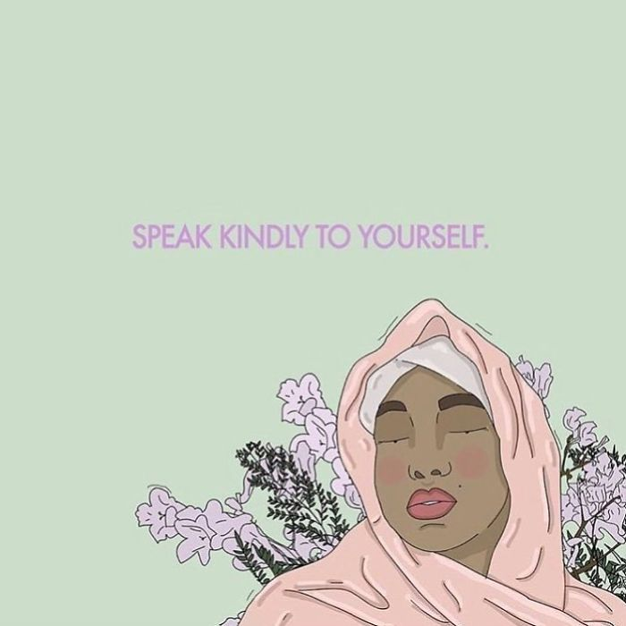 The World Is Full Of Criticism, Don't Add Your Harsh Words When Speaking To Yourself. - Wisdom From My Mother ❤. . . #recipesforselflove #wisdom #power #speakkindly #kindness #gentle #words #selflove #selfcare #loveyourself #dowhatyoulove #love #beautiful #youareperfect #feminism #lifestyle #feminsta #feminist #zine #hijab #hijabi #illustration #digital #drawing #instalove #design #graphic #art #instagood #love #yourself