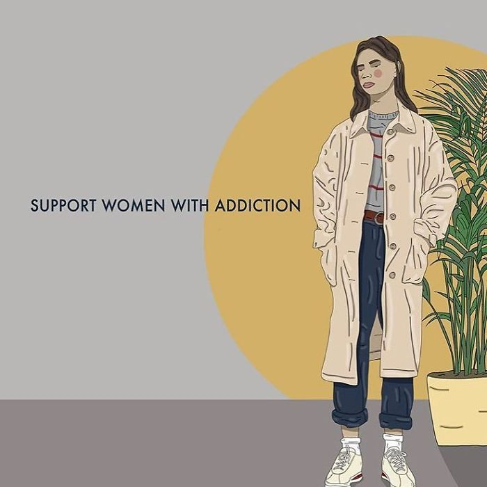 It's Easy To Develop A Dependency When The World Is Constantly Wearing You Down. Not All Women Have The Same Access To Support Or The Capacity To Withstand The Onslaught. Love And Support Women With Addiction. . . . . #recipesforselflove #support #love #positivity #bodypositive #recovery #addiction #allbodiesaregoodbodies #selflove #selfcare #loveyourself #smashthepatriarchy  #youareperfect #fuckthepatriarchy #effyourbeautystandards #feminism #instagood #showup #feminsta #feminist #zine #illustration #digital #drawing #adobe #design #graphic #art #instalove #yourself