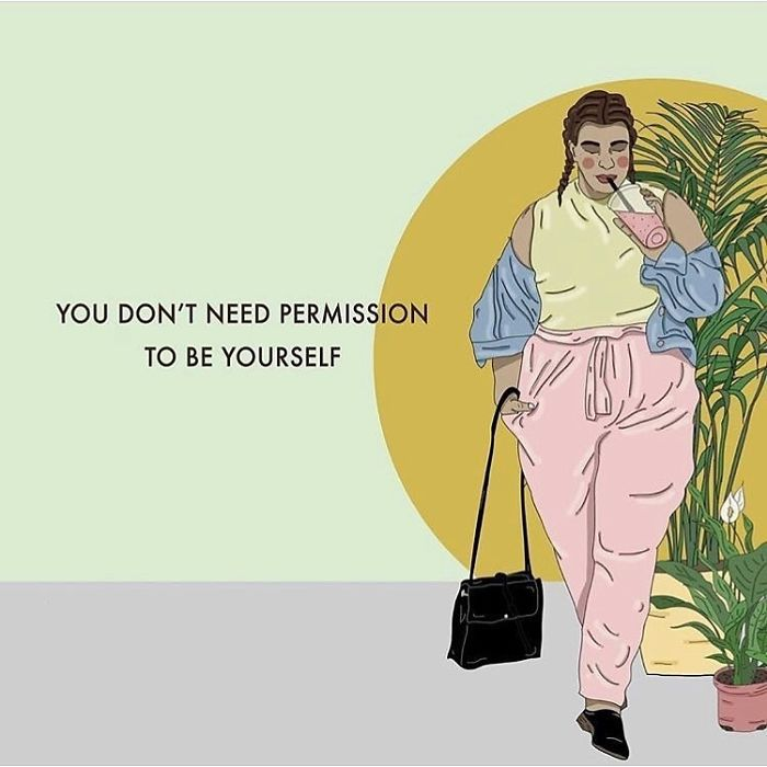 You Know Who You Are, And You're Getting To Know Yourself Better & Better. You Don't Need To Wait For Permissione Approval To Be Yourself 💖. . . . . . #recipesforselflove #support #love #beyourself #bodypositive #youregreat #selflove #selfcare #loveyourself #smashthepatriarchy  #youareperfect #fuckthepatriarchy #effyourbeautystandards #feminism #lifestyle #fun #fashion #feminsta #feminist #zine #illustration #digital #drawing #adobe #design #graphic #art #instalove #yourself #know