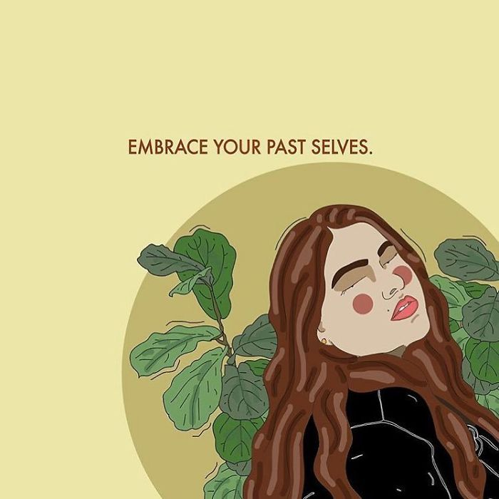 We Are Constantly Changing And Growing. Like Animals That Shed Their Skin We Shed Our Past Selves Sometimes A Few Times In Life. Our Past Selves Are Important Facets Of Who We Are Now. Love Them, Learn From Them. . . . . . #recipesforselflove #youarewonderful #pastself #bodypositive #bodypositivity #instalove #past #selflove #selfcare #loveyourself  #smashthepatriarchy  #youareperfect #fuckthepatriarchy #effyourbeautystandards #feminism #instagood #lifestyle #feminsta #feminist #zine #illustration #digital #drawing #adobe #design #graphic #art #love #yourself