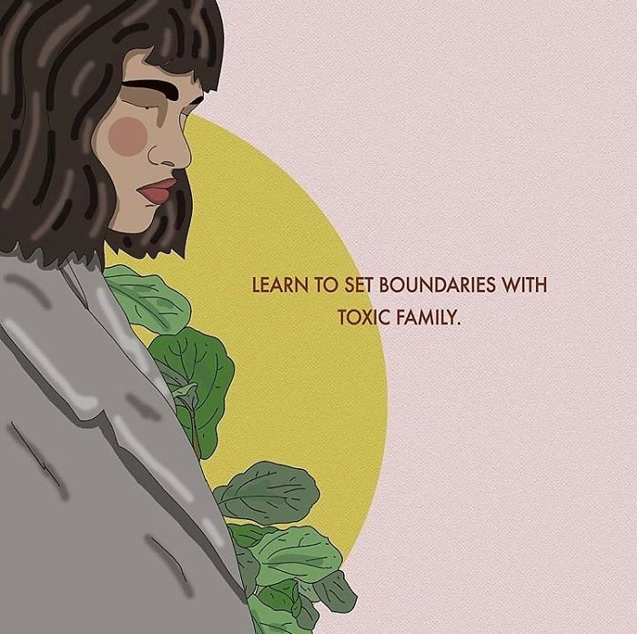 Not Everyone's Family Is A Source Of Love And Support. Boundary Setting Can Be Extremely Difficult, Especially With Family, But It's Important To Do In Order To Protect Yourself. . . . . #recipesforselflove #boundaries #bodypositive #toxicfamily #protectyourenergy #selflove #selfcare #loveyourself  #smashthepatriarchy  #instagood #youareperfect #family #fuckthepatriarchy #effyourbeautystandards #feminism #lifestyle #quote #feminsta #feminist #zine #illustration #digital #drawing #adobe #design #graphic #art #instalove #love #yourself