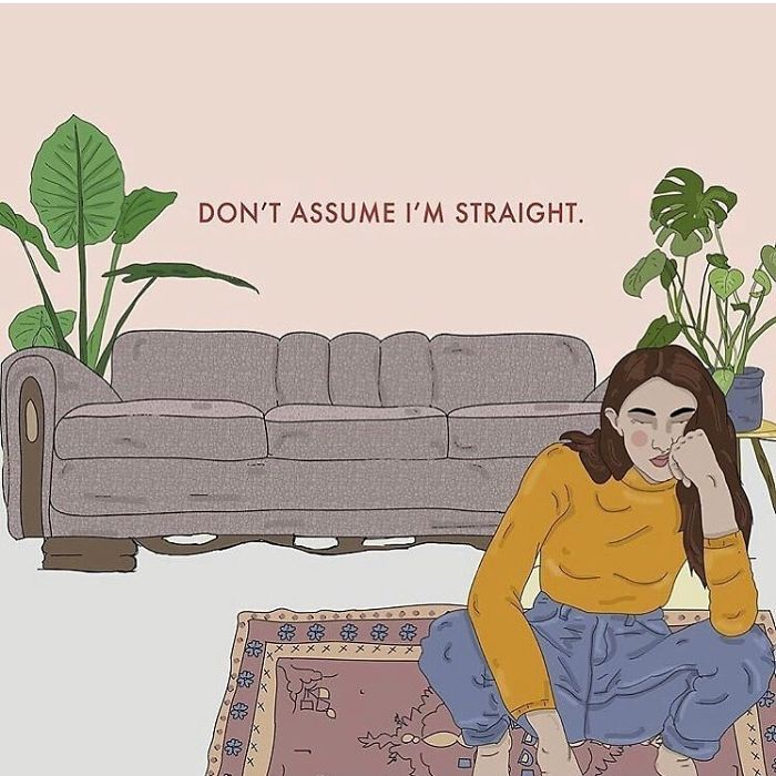 Assuming Someone Is Straight When They're Not Is A Micro-Aggression & Can Really Bum People Out. Rather Don't Assume. . . . . . . #recipesforselflove #support #positivity #bodypositive #lgbt #lgbtq #selflove #selfcare #loveyourself #smashthepatriarchy  #youareperfect #fuckthepatriarchy #effyourbeautystandards #feminism #queerlove #lifestyle #queer #love #feminsta #feminist #zine #illustration #digital #drawing #adobe #design #graphic #art #instalove #yourself