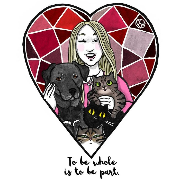 My Girlfriend Keeps Painting Our Life With 3 Cats And A Dog And I Can't Get Enough Of It!