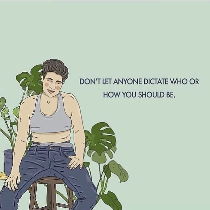 Don't Let Your Friends, Family Or Partner Dictate Who Or How You Should Be. . . . . . #recipesforselflove #support #love #life #bodypositive #instagood #quotes #selflove #selfcare #loveyourself  #smashthepatriarchy #youareperfect #lifestyle #fuckthepatriarchy #nonbinary #gnc #feminism #lgbtq #instalove #feminsta #feminist #zine #illustration #digital #drawing #adobe #design #graphic #art #lifestyle #yourself