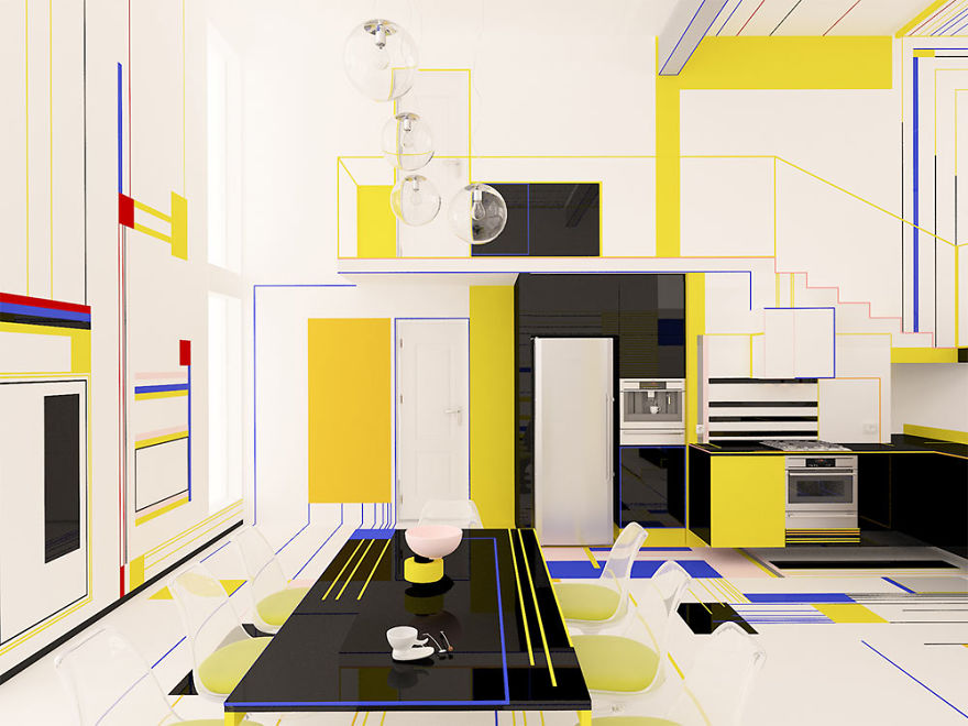 They Used Black Elements In Order To Ground The Space As A Passive Color  And Also White Elements To Activate The Other Colors And Make Them U0027popu0027.