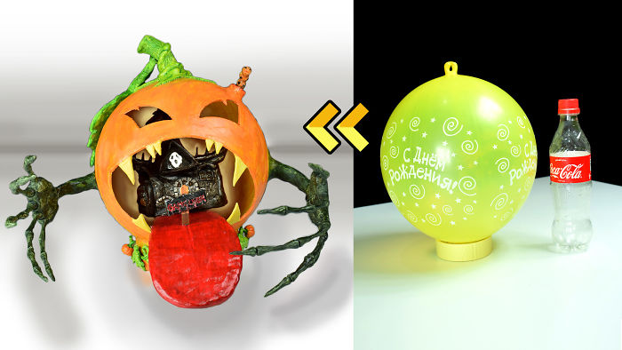 I Made A Fairy House Swallowed By Pumpkin Using Balloon And Plastic Bottle !