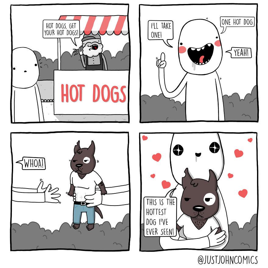 John Ordering A Hot Dog
