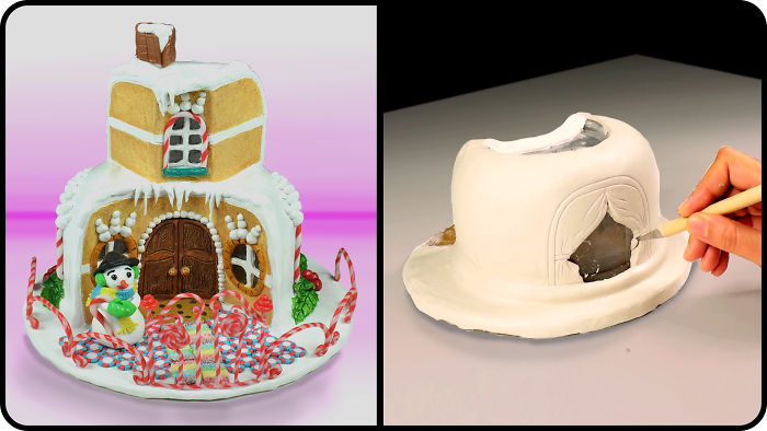 I Upcycled A Worn Plastic Bowl Into Polymer Clay Sweet Candy House