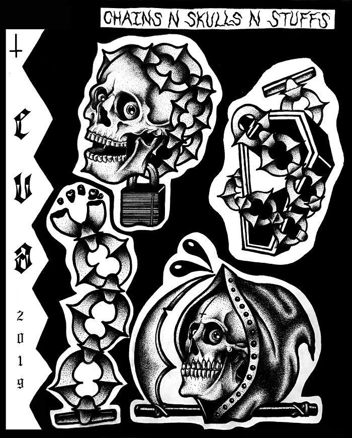 Chains+skulls+lots Of Black=a Cool Tattoo