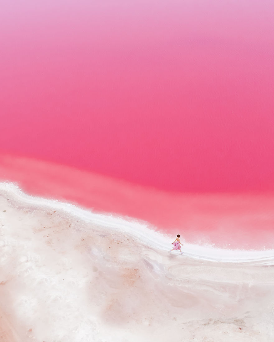 Magic Pink Lagoon In Western Australia