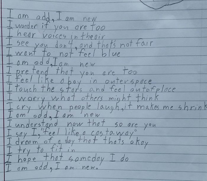 Autistic Boy Writes Moving Poem About How Odd He Is For A School Assignment, Leaves Teacher In Tears
