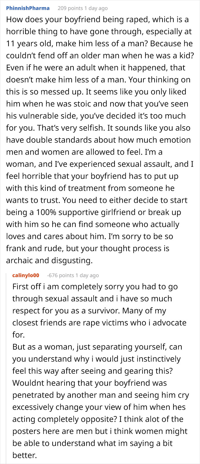 Girlfriend Asks If She's Wrong To Leave Boyfriend After Learning That He Was Raped, Gets Destroyed With Responses